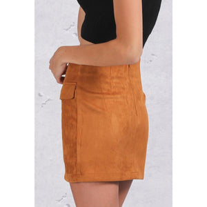 Suede Leather Crisscross Skirt-Skirts-NUVO53
