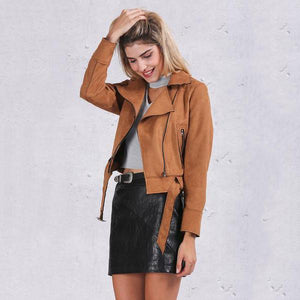 Suede Motorcycle Jacket-Women's Coats and Jackets-NUVO53