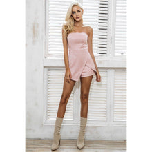 Suede Off-The-Shoulder Romper-Jumpsuits and Rompers-NUVO53