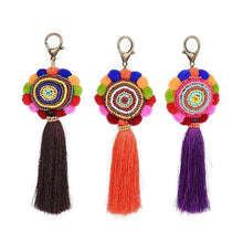 Tassel Multi-color Pom Pom Bohemian Key Ring 3 Colors-Key Rings-NUVO53