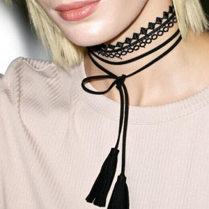 Tattoo Lace Tassel Velvet Leather Choker Necklace-Necklace-NUVO53