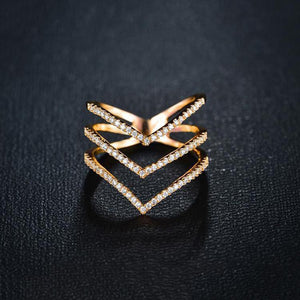 Three Rose Gold and Silver Micro CZ RIng-rings-NUVO53