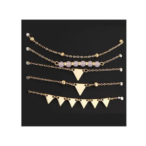 Triangle Charms Bracelet 5 Piece Set-Fashion Jewelry Sets-NUVO53