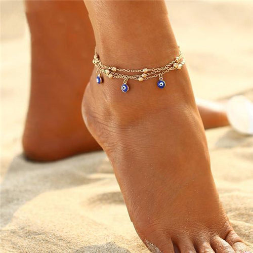 Turkish Eyes Pendant Foot Chain Anklet-Anklets-NUVO53