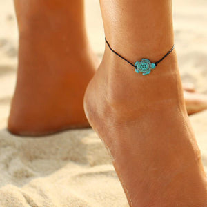 Turtle Turquoise Leather Foot Chain Anklet-Anklets-NUVO53