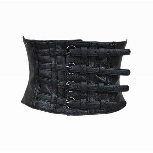 Ultra Wide Adjustable Body Corset Faux Leather Belt-Belts-NUVO53