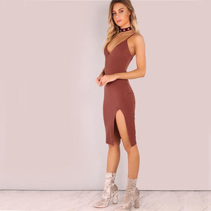V-Neck Cami Midi Dress-Dresses-NUVO53
