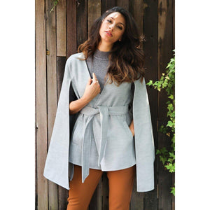 V-Neck Wool Coat-Women's Coats and Jackets-NUVO53