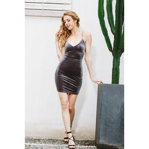 Velvet Lace-Up Short Bodycon Mini Dress-Dresses-NUVO53