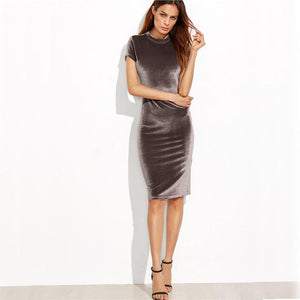 Velvet Pencil Work Midi Dress-Dresses-NUVO53