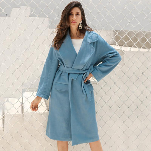 Wool Trench Coat-Women's Coats and Jackets-NUVO53