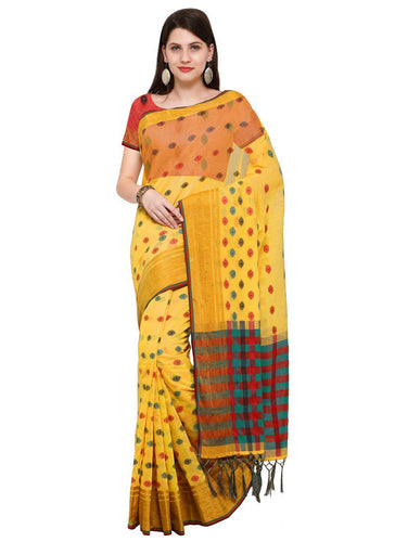 Poly Silk Bordered Yellow Saree with blouse