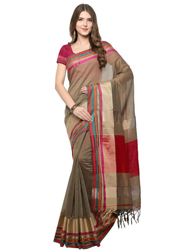 Poly Silk Bordered Beige-Maroon Saree with blouse