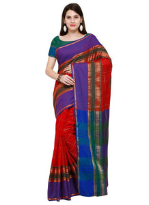 Poly Silk Bordered Red-Multi Saree with blouse