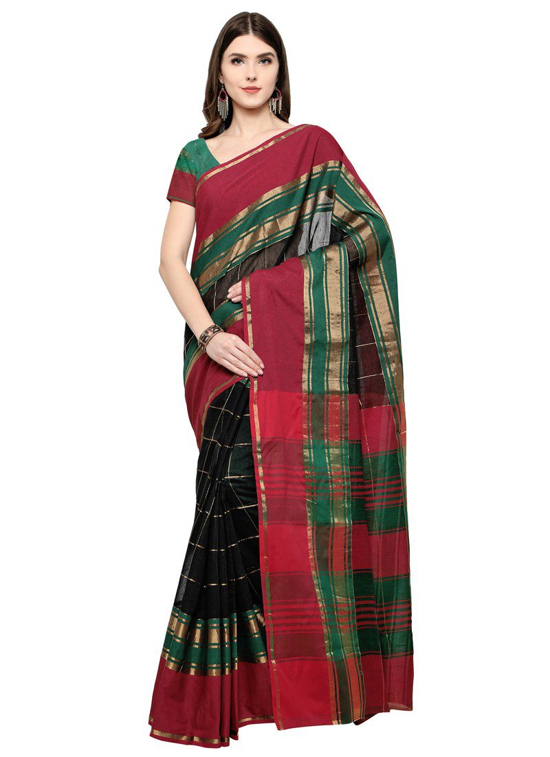 Poly Silk Bordered Black-Multi Saree with blouse