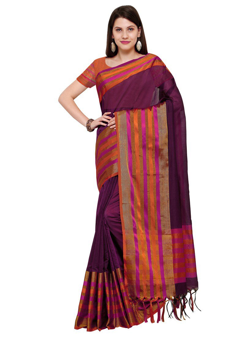Poly Silk Bordered Purple Saree with blouse