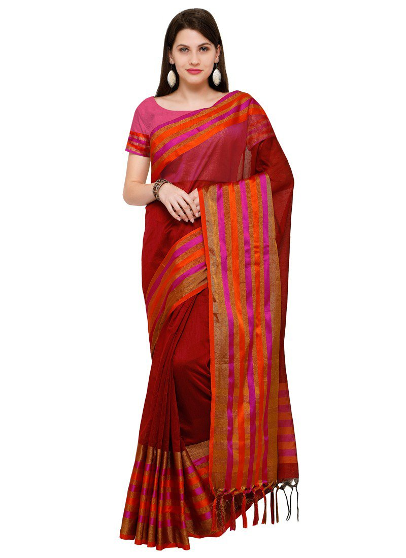 Poly Silk Bordered Maroon Saree with blouse