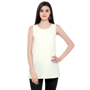 ZC TOP 1006 Georgette Plain White Western Top