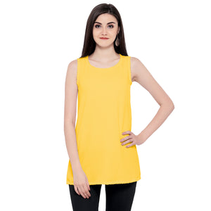 ZC TOP 1006 Georgette Plain Yellow Western Top