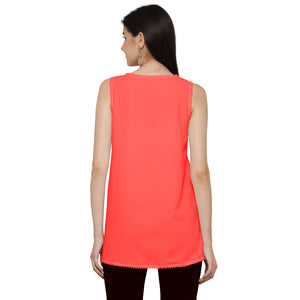 ZC TOP 1006 Georgette Plain Orange Western Top