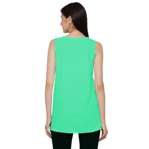 ZC TOP 1006 Georgette Plain Firozi Western Top