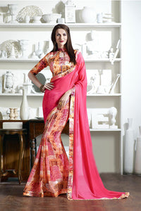 Zankar Printed Georgette Multi Colore Saree
