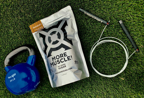 bag of more muscle with a kettlebell and jump rope
