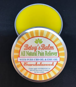 Betsy's Balm All Natural Pain Reliever with CBD Oil and EMU oil