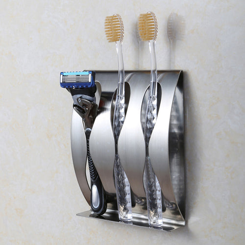 Stainless steel wall mount toothbrush holder