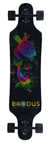 Koi Fish and Turtle Complete Longboard