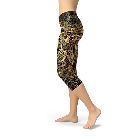 Womens Golden Ornament Owl Handmade Capri Leggings