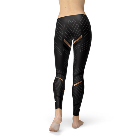 Womens Sports Stripes Black Leggings