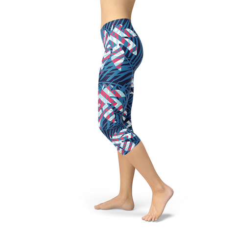 Blue Tropical Leaf Capri Leggings for Women