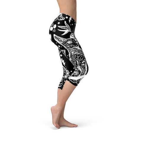 Womens Black and White Handmade Capri Leggings