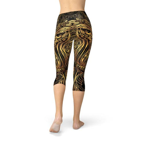 Womens Golden Ornament Owl Handmade Capri Leggings - Exodus Longboard Co.
