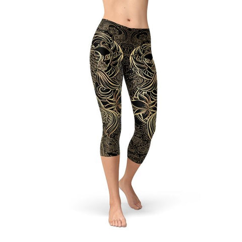 Womens Koi Fish Handmade Black Capri Leggings
