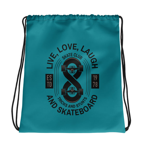 Live, laugh and skateboard Drawstring bag