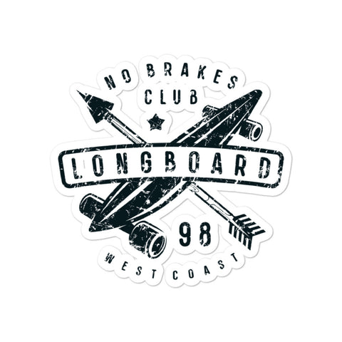 No brakes club sticker - Exodus Longboard Co.