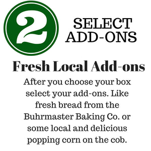 Step 2, Yakima valley local produce delivery, Direct to your door, Local add-ons, fresh local bread, artisan goods