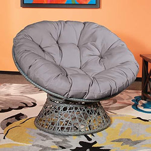 OSP Designs  Papasan Chair, Black - zingydecor