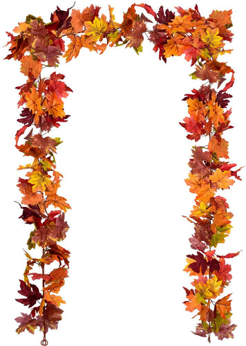 2 Pack Fall Garland Maple Leaf, 5.9Ft/Piece Hanging Vine