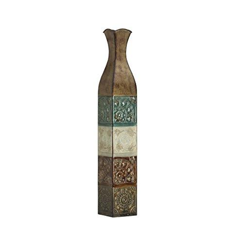 Elements Embossed Metal Suzani Tile Decorative Vase, 34-Inch - zingydecor