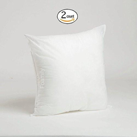 Image of Set of 2 - 20 x 20 Premium Hypoallergenic Stuffer Pillow Insert Sham Square Form Polyester, Standard / White - MADE IN USA - zingydecor