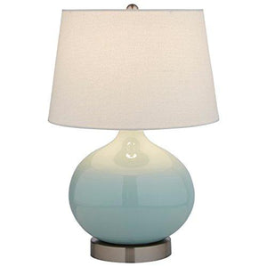 "Stone & Beam Light Blue Ceramic Lamp, 20""H, With Bulb, White Shade - zingydecor"