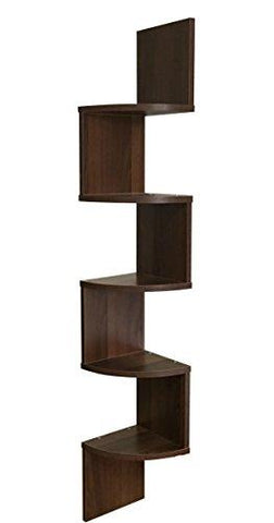 Image of EWEI'S HomeWares 5-Tier Large Corner Wall Mount Shelf, Walnut