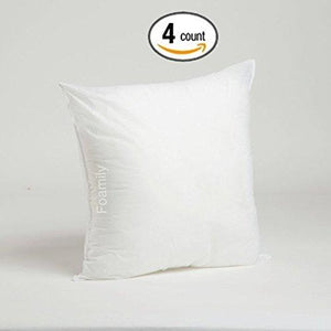 "Foamily Set of 4 Premium Hypoallergenic Stuffer Pillow Insert Sham Square Form Polyester, 18"" L X 18"" W, Standard/White - zingydecor"