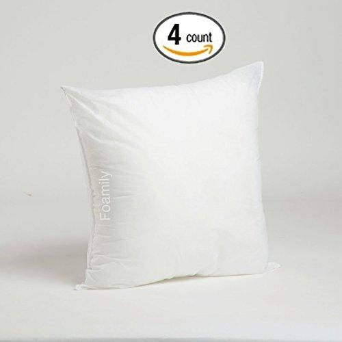 "Foamily Set of 4 Premium Hypoallergenic Stuffer Pillow Insert Sham Square Form Polyester, 18"" L X 18"" W, Standard/White"