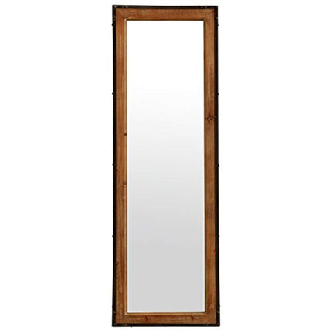 "Image of Stone & Beam Wood and Iron Mirror, 42.25""H, Natural Wood and Black"