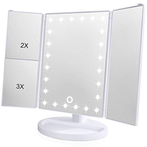 KOOLORBS Makeup 21 Led Vanity Mirror with Lights, 1x/2x/3x Magnification, Touch Screen Switch, 180 Degree Rotation , Dual Power Supply Portable Trifold (White)