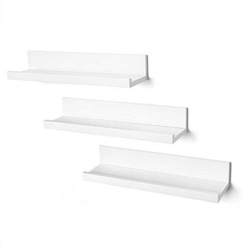 Set of Three 14-inch Floating Wall Shelves by Americanflat, White